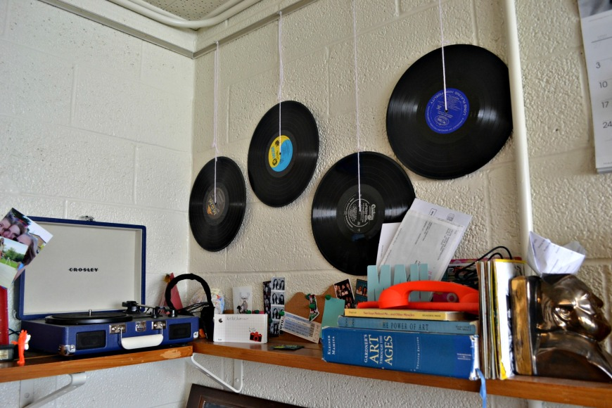 Bored of the boring walls? Hang records! Super easy and cheap! I got these records from the DI for a dollar each.