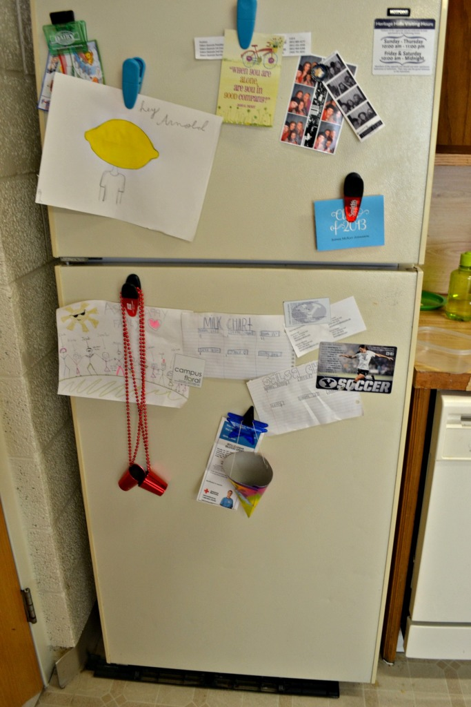 STICK EVERYTHING ON THE FRIDGE! That's our motto.