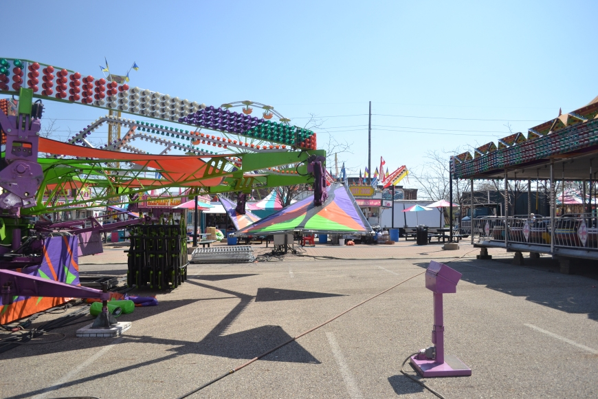 setting up the carnival