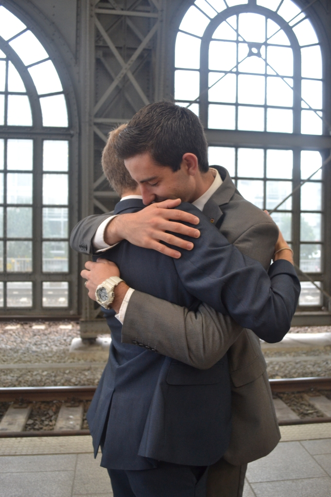 Elder Ashmead and Elder Stephens hug it out before parting ways. Aaaah so touching!