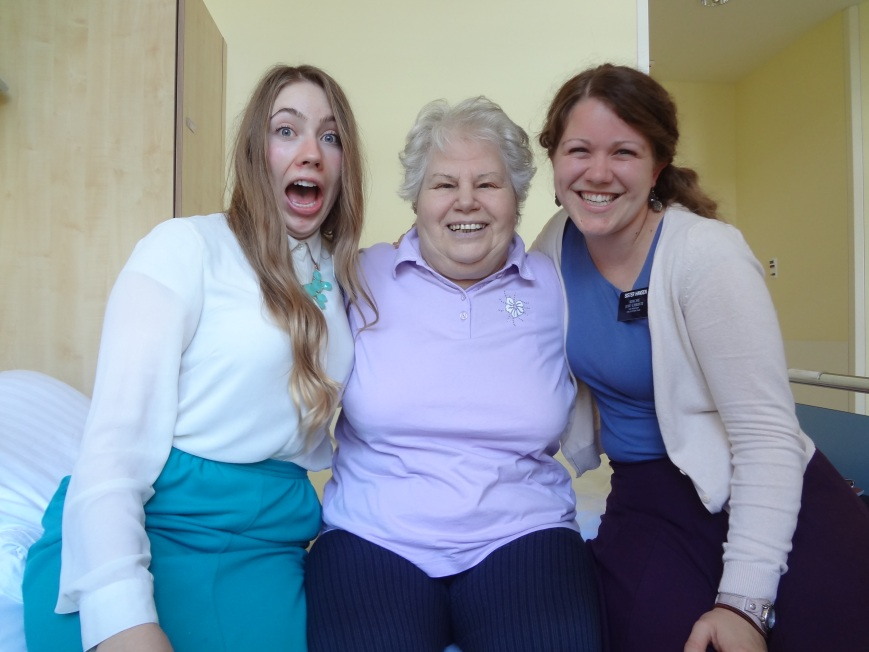I wanted to make Frau G smile when we visited her at the hospital so I made my dolphin noise but unfortunetaly the camera captured the photo sooner than I was expecting. At least she smiled!
