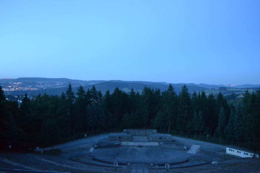 In the middle of nowhere, lies a GIANT amphitheatre overlooking tiny Schwarzenberg. Spooky scary!