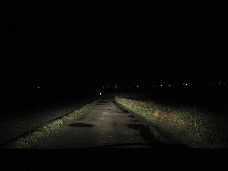 1. it gets so dark so early! by 5.30 the sun is gone. and then we drive on scary horror movie roads like this.