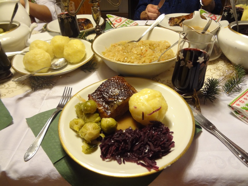 Christmas eve dinner. On the menu we have Goose, Rotkohl, Klösse, and Rotkohl