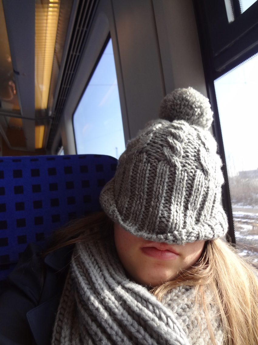 And so the story ends with me catching up on sleep on the train, hat style!