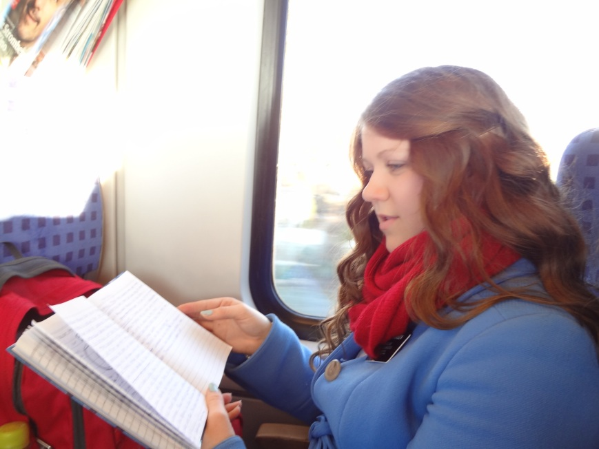 Studying on the train for our Presentation