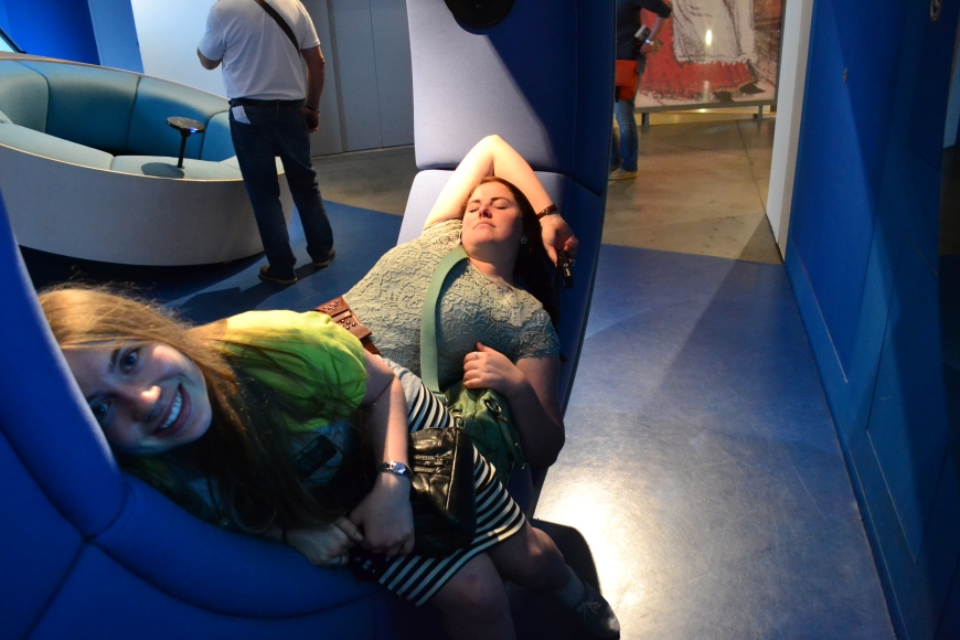 Also in the Jewish Museum. Perfect nap couches! The one behind is a hole that you jump through and it throws you in a pile of pillows to represent dying and going to heaven! jk, it doesn't do that, but that would have been wicked cool!