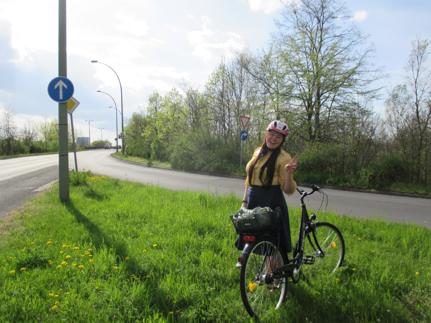 biking adventures. sometimes the lane runs out and you are stuck in a grass part in the middle of a highway.