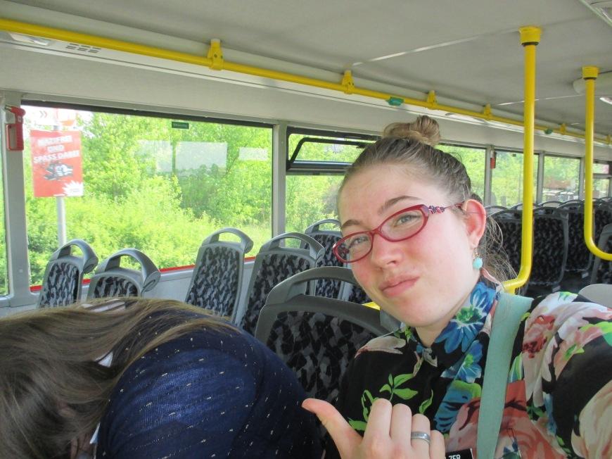 falling asleep on the double decker bus.