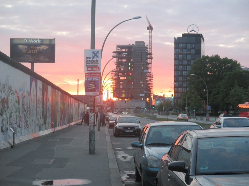 sunset at the berlin wall